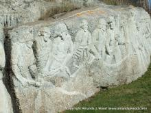 William E. deGarthe sculpted an outcropping 30 m (100 ft) granite face of rock which he named Fisherman's Monument dedicated to Nova Scotian fisherman.