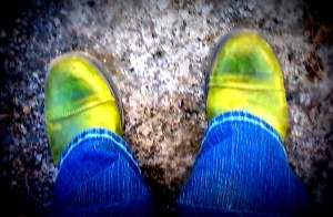 It is not spring, but the green boots are still my spring boots