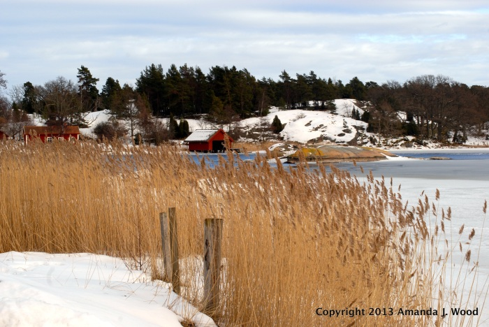 To me a typically Swedish scene. Ice, red buildings, snow