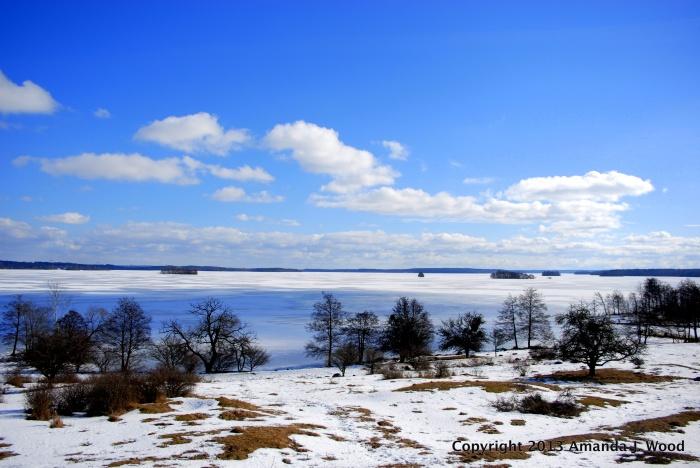Björkö from Hovgården. Birka is located on Björkö.