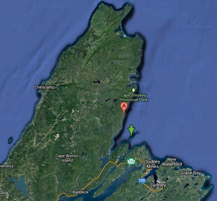 Location of bird islands off the coast of Cape Breton. The green arrow.