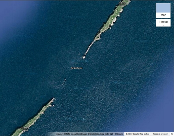 Google Maps: Close up of Bird Islands satellite view